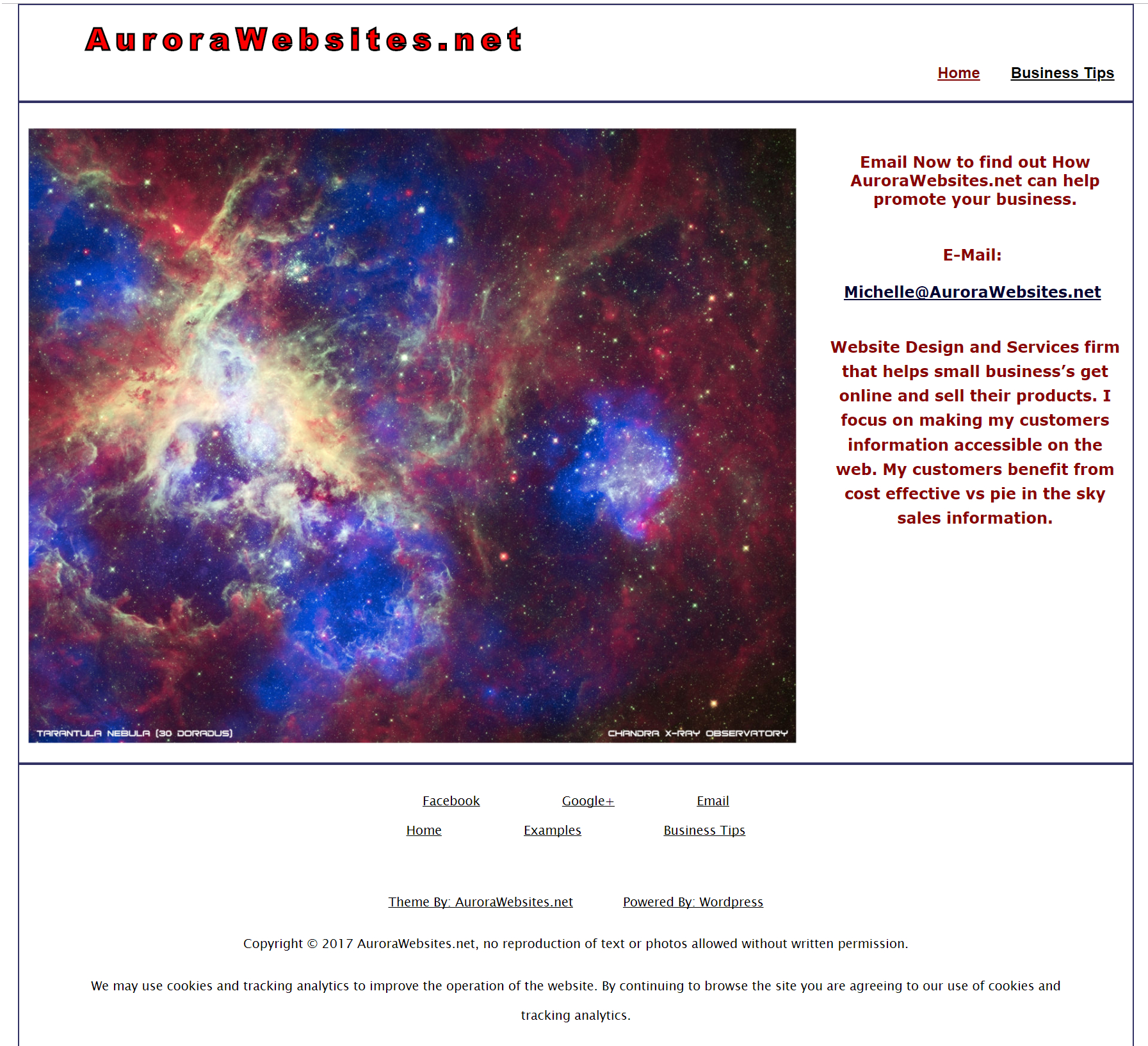 Clean Theme with white background and dark red text. Large picture of a nebula from a telescope.